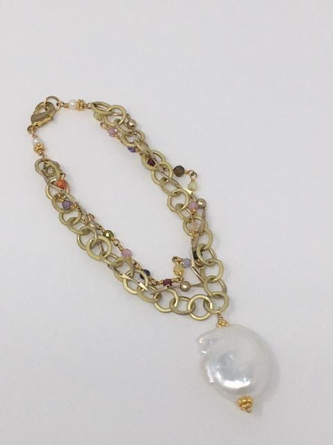 Gold Multi Chain with Pearl drop - ShopMadisonbelle