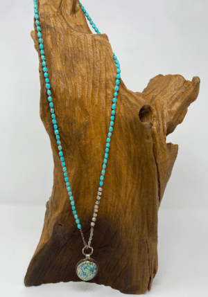 Turquoise and Silver Abalone Necklace - ShopMadisonbelle